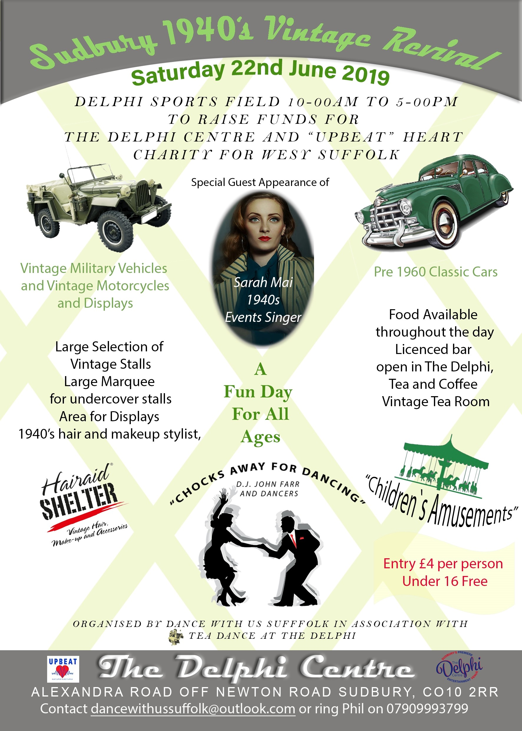 Flyer for 1940's Vintage Revival Day in Sudbury, Suffolk