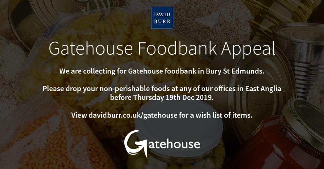 We are collecting non-perishable foodstuffs for Gatehouse Foodbank in Bury St Edmunds